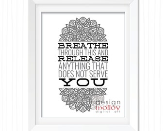 yoga quote yoga print create calm watercolor lotus flower