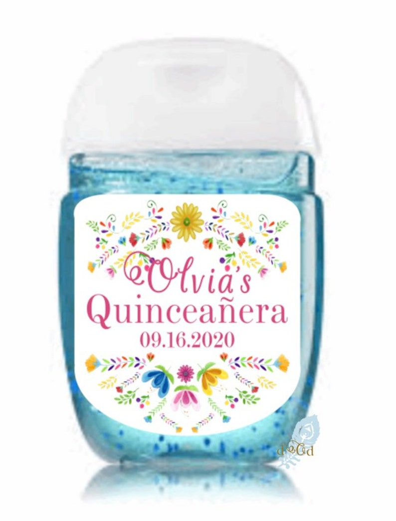 Sweet 16 Hand Sanitizers Labels Quince Labels Baby Shower Labels Quincea\u00f1era Hand Sanitizer Labels Fiesta Hand Sanitizer Label