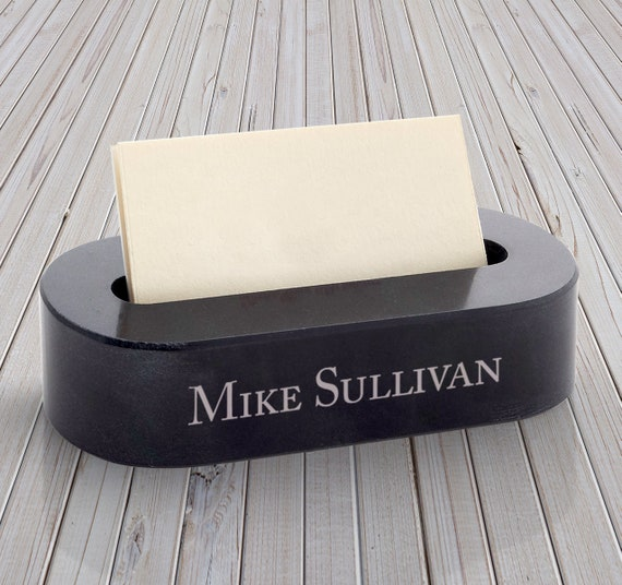Personalized Marble Business Card Holder Desk Accessories Etsy