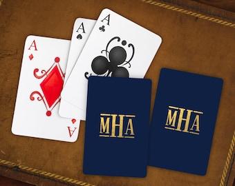 2 Decks Monogram Playing Cards, Foil Stamped Monogram Cards, Monogram Playing Card, 6 monogram styles, 3 Foil |Monogram Playing Cards|3995M