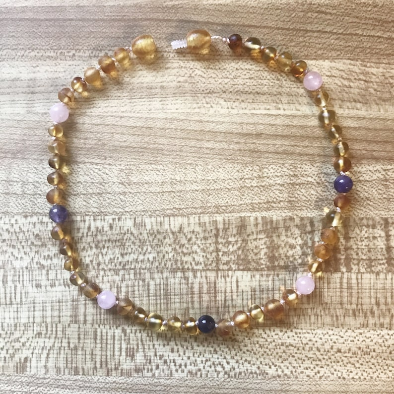 BABYCHILD teethingcomforting Raw Baltic Amber neckace with Rose Quartz comfort /& Amethyst peace Reiki-charged made with love