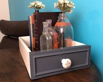 Small Bookcase Vintage Bookshelf Tabletop Repurposed Drawer Dresser Book Holder Wooden Box Upcycled