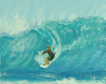 """Mini Original Acrylic Painting with Easel, Ocean Scene with Surfer, 4""""x4"""""""