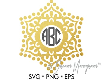 Monogram Frame Svg / Mandala Svg / Frame Svg / Cutting files for use with Silhouette Cameo and Cricut