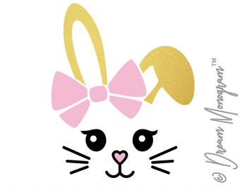 Bunny Svg, Easter Svg, Easter Bunny Svg, Easter Cut File, Bunny face Svg, Cutting files for use with Silhouette Cameo, ScanNCut, Cricut
