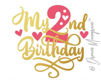 Second Birthday Svg, Birthday Svg, Birthday squad Svg, Two Svg, Second Svg, Cutting files for use with Silhouette Cameo, ScanNCut, Cricut