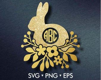 Easter SVG, Bunny svg, Happy Easter svg, Easter Monogram Frames svg, Monogram Frames svg, svg files