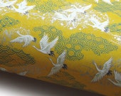 NEW Japanese Paper Yuzen quot Cranes Flight on Pattern Mix. White, Turquoise and Silver on Yellow. quot Chiyogami