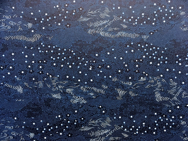 Chiyogami NEW Blue and White on Black Japanese Paper Yuzen Flowering Meadow