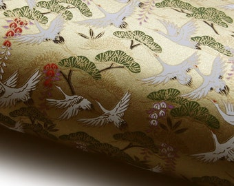 """NEW! Japanese Paper Yuzen """"Cranes, Japanese Pine and Wisteria on Gold."""" Chiyogami"""