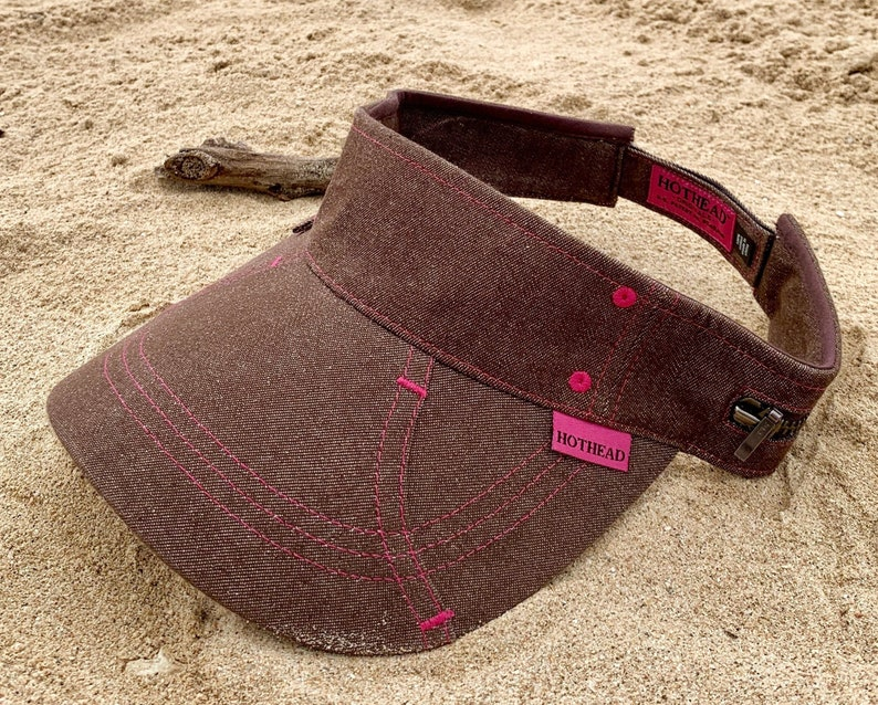 Hothead Brown Denim Womens Mens Wide Brim Sun Visor Hat Beach  c8d54c6b9b27