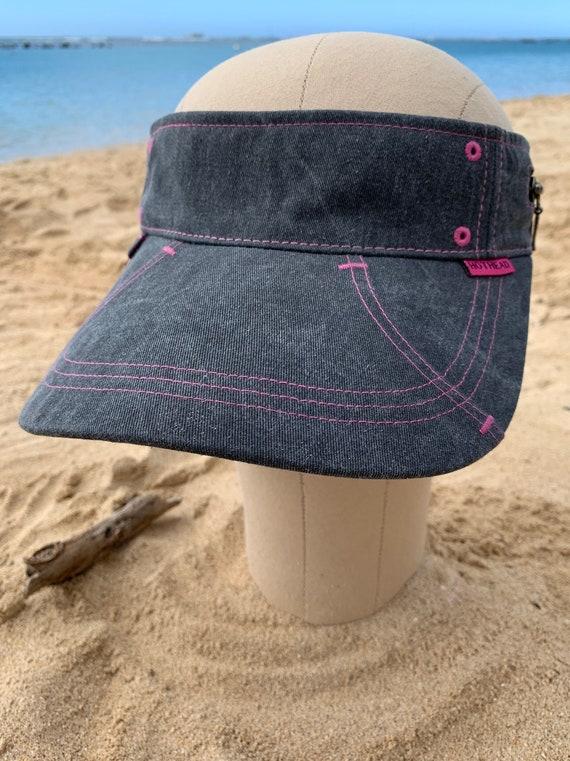 Hothead Large Brim Cotton Sun Visor Hat in Biowash Black