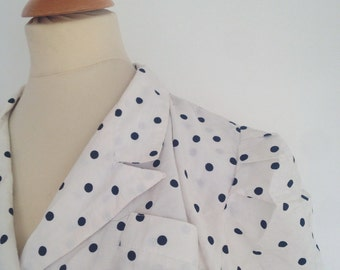 Dress vintage 1980 dots black and white made in France