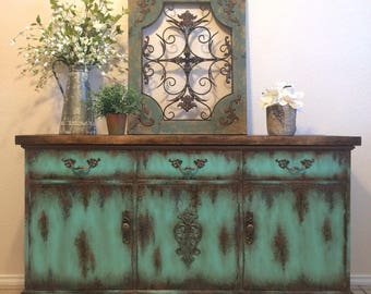 Exceptionnel Farmhouse Rustic Buffet Painted Furniture Media Console Patina Turquoise  Aqua