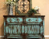 Vintage Hand Painted Aqua Patina All Weathered Out Buffet Media Console Dresser Entertainment Cabinet Rustic Farmhouse