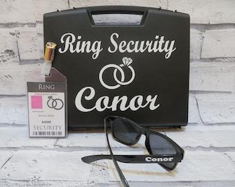 Ring Security Box + sunglasses + badge, Ring security set, ring bearer keepsake gift, page boy gift, wedding idea
