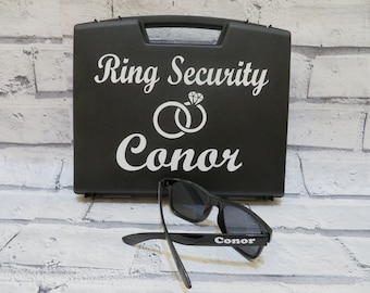 Ring Security Box with FREE sunglasses, Ring holder inside, ring bearer gift,  page boy gift, special agent gift, wedding idea
