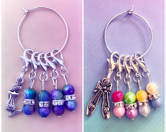 Bead/charm Stitch markers/progress markers for crocheting & knitting