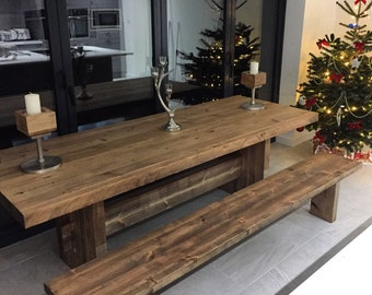 Rustic Dining Table And Bench Black Metal Legs Etsy
