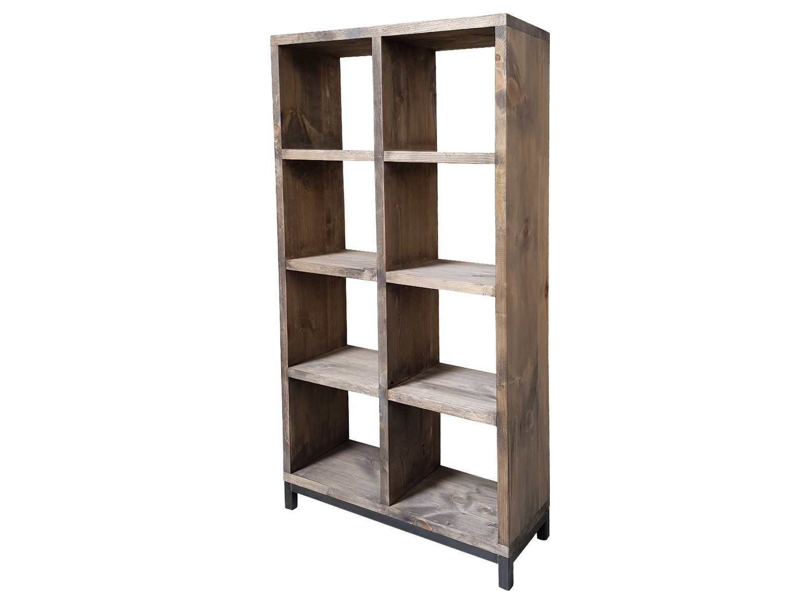 Industrial Bookcase Rustic Wall Unit Wooden Bookcase Shelving Storage