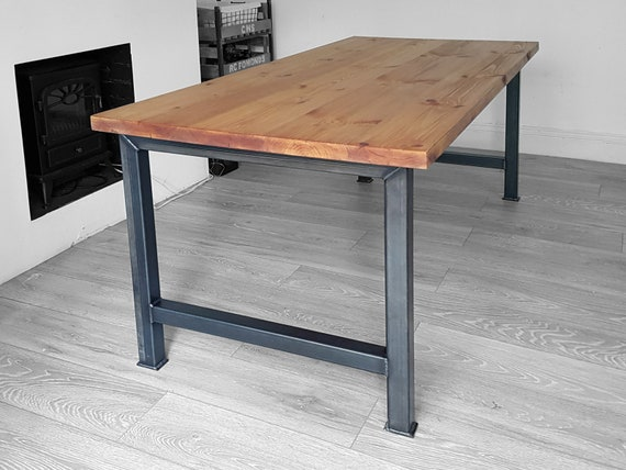 Industrial Dining table and bench with H leg, Bespoke office, restaurant  furniture, rustic kitchen table