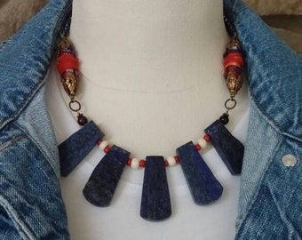 statement necklace, southwest necklace, lapis lazuli, summer necklace, handmade beads necklace, ooak gift for her