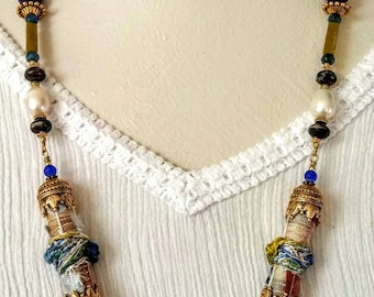 chunky beaded necklace, statement necklace, handmade fiber beads, long necklace, ooak, gift for her