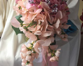 Bridal Light rose  and white bridal bouquet antique look   hand made in usa Artificial  flowers  003