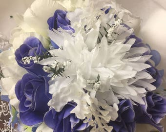 Brides bouquet blue and white silk flowers artificial free Shipping in USA only 018