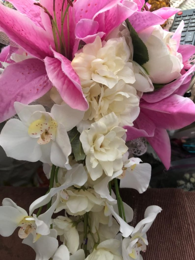 Wedding bouquet artifical flowers 027 tjis is beautiful with white trailing orchids