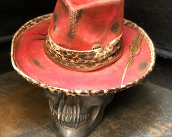 """Vintage rare custom hat """" High heals , champagne & bloody noses """""""