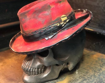 "Vintage Rare Custom Hat ,"" Into the rock through walls of red dreams"""
