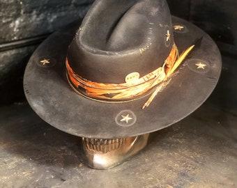 "Vintage Rare Custom Cowboy Hat , ""FALLEN ANGEL"""