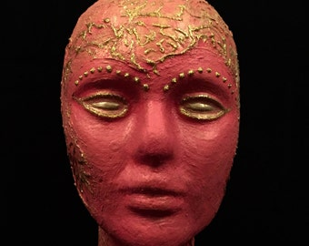 Head Art Female Mannequin Head OOAK Fantasy Mixed Media Styrofoam Metallic Gold Texture Mediums Decoupage Art Pink Gold Wig Hat Display