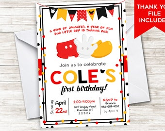 Mickey Inspired First Birthday Invitation Mouse Invite ANY AGE 5X7 Cheers Ears Boy Girl 5x7 Digital