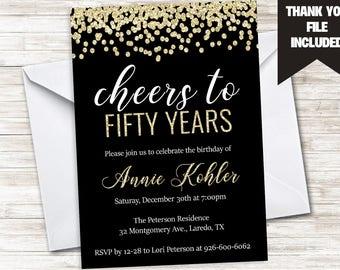 50th birthday invitations etsy 50th birthday invitation invite gold black glitter cheers golden digital adult any age 60th 70th fiftieth filmwisefo