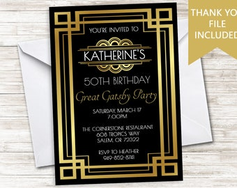 Great Gatsby Invites Etsy