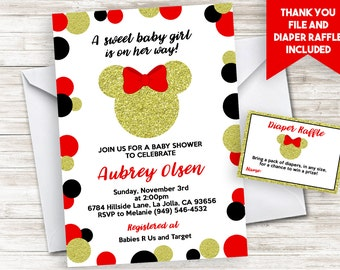 Minnie mouse baby shower invitation etsy red minnie mouse inspired baby shower invitation invite polka dots gold glitter 5x7 digital personalized filmwisefo