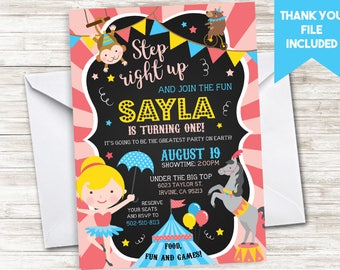 circus birthday invitation invite girls digital any age pink etsy