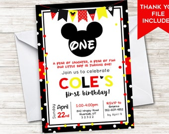 Mickey First Birthday Invitation Invite Mouse 5x7 Digital Red Yellow Confetti Polka Dots Kids Party