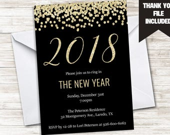 New Years Party Invite Invitation Gold Glitter Black Digital 5x7 2018 NYE