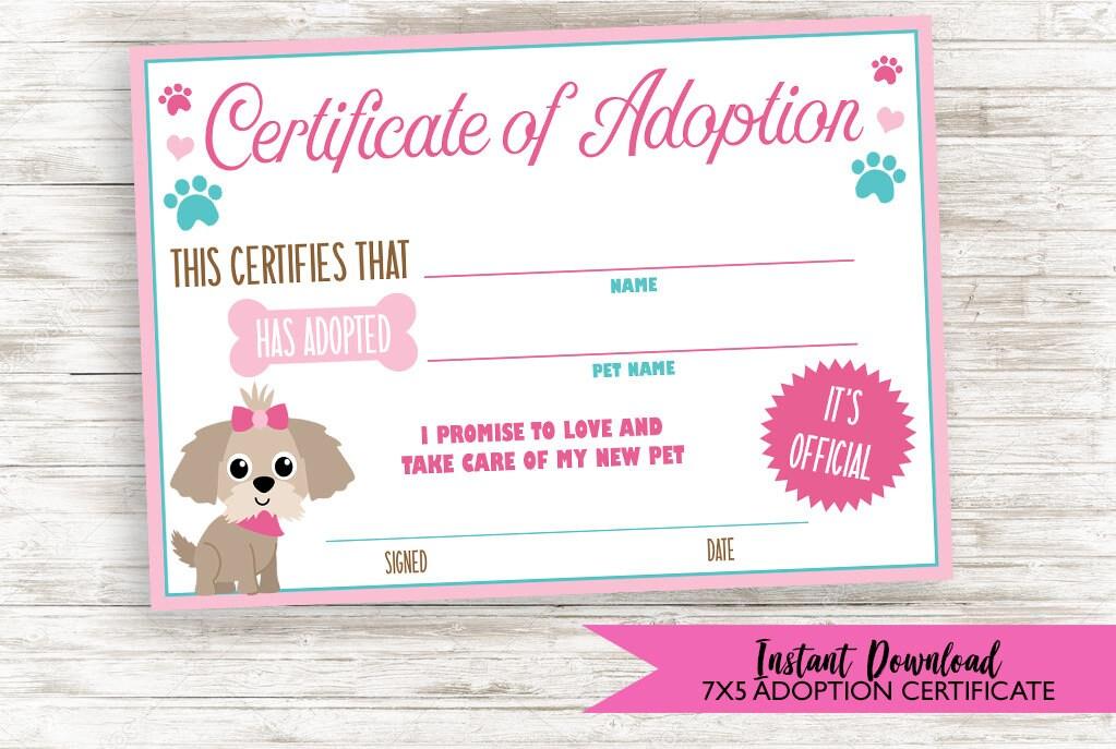 Puppy Adoption Certificate Dog Digital 7x5 Birthday Party Sign Etsy