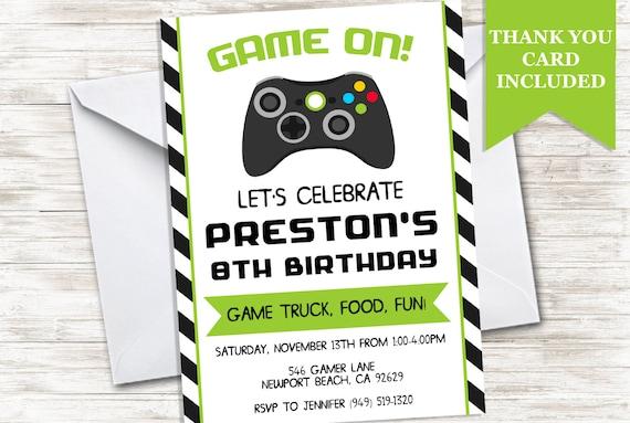 Game Truck Invitation Birthday Invite Video Games Gamer Gaming