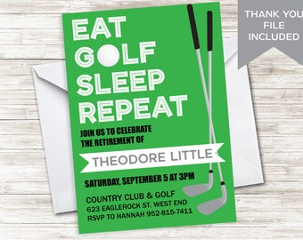 Golf Retirement Invite Invitation Golfing Digital 5x7 Party Green Tee Partee Swing By Retired