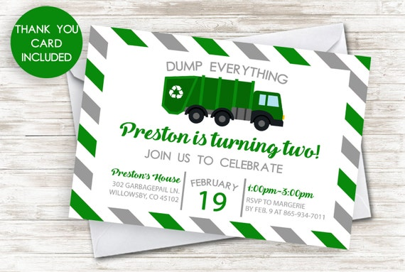 Garbage Truck Invitation Invite 5x7 Green Trash Recycle Kids Boys Birthday Party Digital ANY AGE