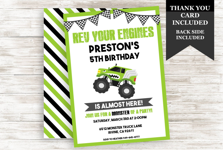 Monster Truck Invitation Invite 5x7 Digital Green Race Car | Etsy