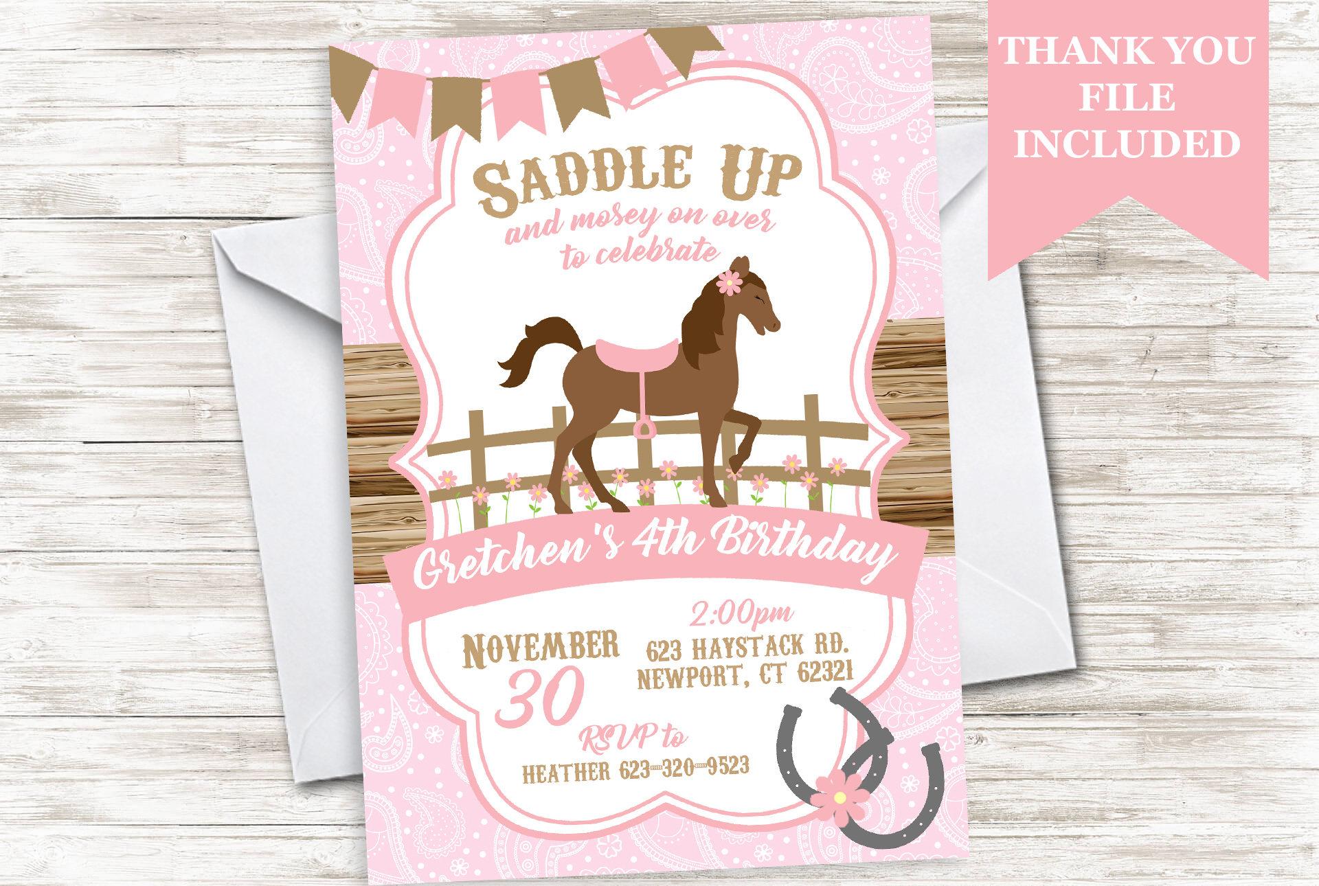Horse Birthday Cowgirl Invite Invitation Pink Farm Floral Kids   Etsy