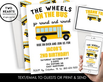 Bus Invite Yellow Wheels on the Bus Invitation School Digital Birthday 5x7 Preschool Themed ANY AGE