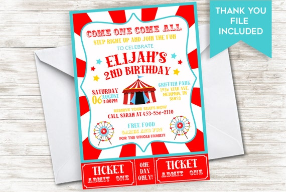 circus birthday invitation invite girls boys kids carnival etsy