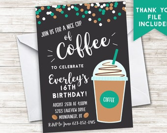 Coffee Birthday Invitation Invite Digital Teen Birthday Party 5x7 Cafe Latte ANY AGE Chalkboard